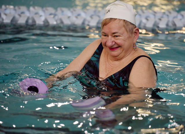 Area resident June Supczenski works out in the Arthritis Foundation Aquatics Program at the Wilkes-Barre YMCA. Aimee Dilger|Times Leader