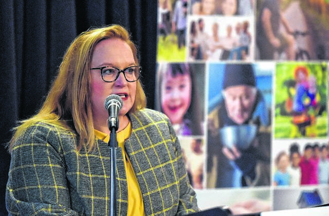 <p>Gertrude McGowan, Esq, CEO at Family Services Association of Northeastern Pennsylvania, discusses the 211 Help Line program at a recent event.</p>                                  <p>Aimee Dilger | Times Leader</p>