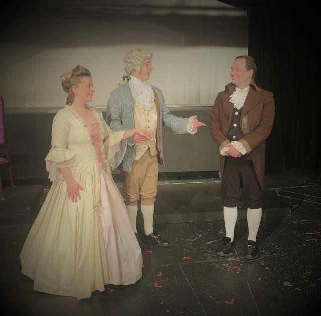 <p>Mozart (Tim Solarek) introduces his fiancee Constanze Weber (Joyce Vandermark) to Salieri (John Schugard).</p>                                  <p>Submitted photo</p>