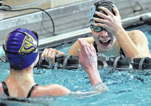 Melissa Leonard of Dallas celebrates her win in the 200 freestyle.                                  Aimee Dilger   Times Leader