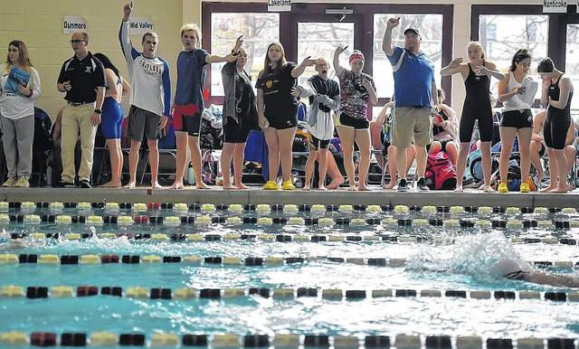 Coaches and swimmers cheer on competitors during the District 2 swimming championships on Friday at the Wilkes-Barre CYC.                                  Aimee Dilger | Times Leader