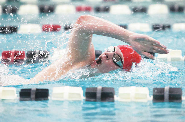Ryan Kovalick won gold for Hazleton Area in the 500 freestyle on Saturday night at the District 2 Class 3A championships, finishing in 4:50.33.                                  Amanda Hrycyna   For Times Leader