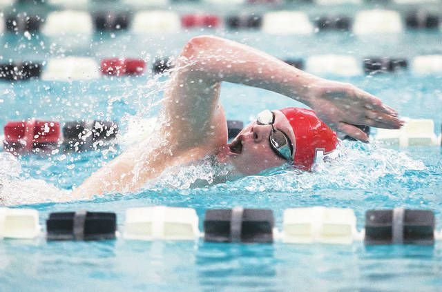 Ryan Kovalick won gold for Hazleton Area in the 500 freestyle on Saturday night at the District 2 Class 3A championships, finishing in 4:50.33.                                  Amanda Hrycyna | For Times Leader