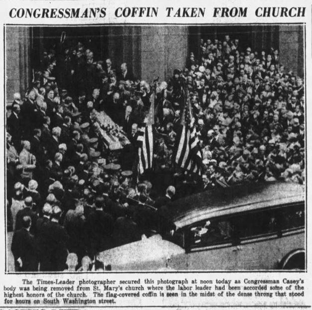 <p>Picture of John J. Casey's funeral outside St. Mary's Catholic Church on South Washington Street, Wilkes-Barre. Picture published in the Times Leader Evening News on May 15, 1929. </p>