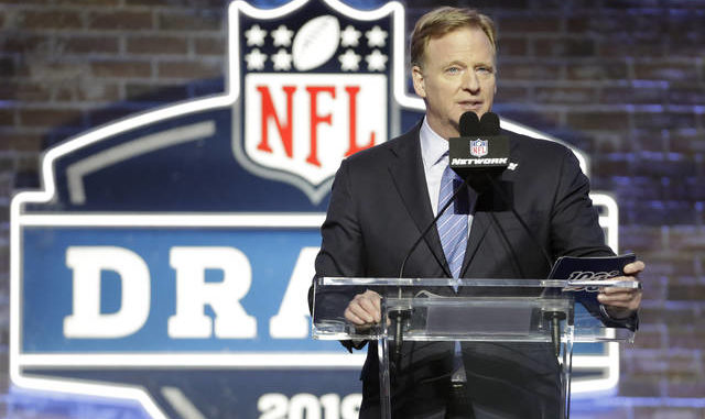 In this April 25, 2019, file photo, NFL Commissioner Roger Goodell speaks ahead of the first round at the NFL football draft in Nashville, Tenn. In a memo sent to the 32 teams Monday, April 6, and obtained by The Associated Press, NFL Commissioner Roger Goodell outlined procedures for this week's draft. The guidelines include no group gatherings. AP photo