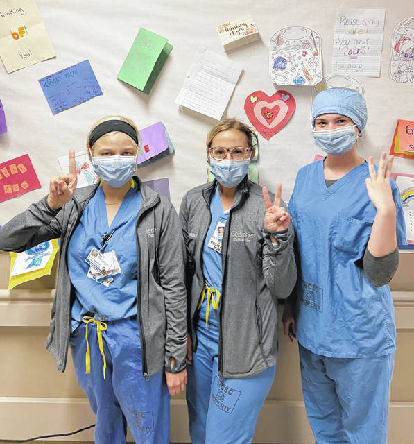 <p>Three GCMC ICU nurses, Rachel Kevra, Danielle Krimmel, Melissa Demianovich, extubated three patients on the same day in early April. The day was a sign of hope for positive outcomes for patients on ventilators.</p> <p>Submitted photo</p>