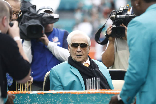 <p>Former Dolphins coach Don Shula celebrated his 90th birthday along with his 1972 undefeated season in a December game in Miami.</p> <p>Brynn Anderson | AP file photo</p>