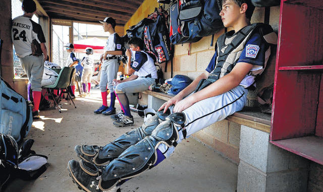 Back Mountain National catcher Zachary Williams watches from the dugout during a Little League Baseball Section 5 game last year. Districts 16 and 31 will decide by June 3 whether the season can be played or will have to be canceled. Fred Adams file photo | For Times Leader