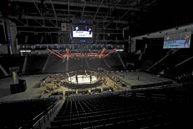<p>Fighters battle without spectators during a UFC 249 mixed martial arts bout on Saturday in Jacksonville, Fla.</p> <p>AP photo</p>