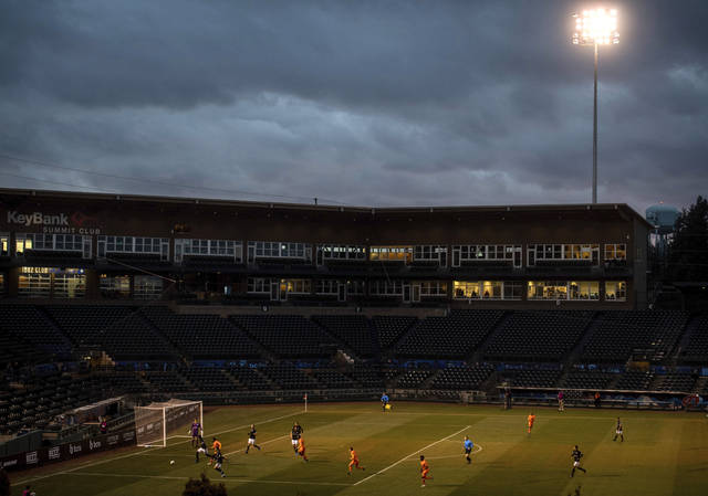 <p>The Tacoma Defiance play the San Diego Royal in a United Soccer League match just before the coronavirus pandemic shut down sports across the country. These attendance-driven leagues might not play again at all in 2020, putting some teams in danger of surviving at all.</p> <p>Joshua Bessex | AP file photo, The News Tribune</p>
