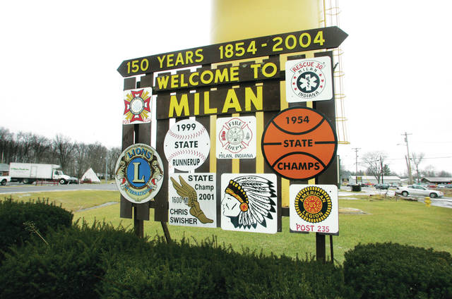 <p>This welcome sign on State Road 101 greets visitors driving into Milan, Ind.</p>