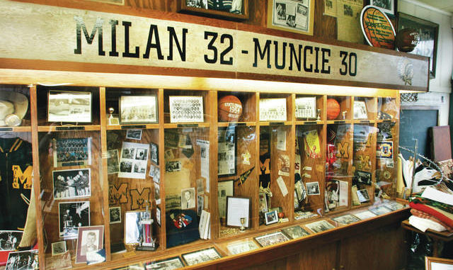 """Memorabilia from the 1954 state champion Milan Indians glory days fills players' 'lockers' in the Milan '54 Museum in Milan, Ind.. The museum commemorates the 1954 Milan Indians' high school basketball championship, in which they defeated Muncie Central 32-30 for the state title. The story of Milan's thrilling run to the Indiana state title is the story told in """"Hoosiers,"""" voted the No. 1 sports movie of all time by the sports staff of The Associated Press. AP photos"""