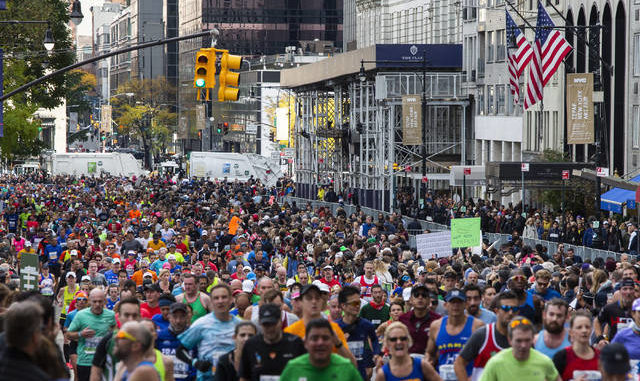 In this Nov. 3, 2019, file photo, runners take part in the New York City Marathon in New York. AP photo
