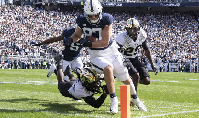 In just two seasons, Pat Freiermuth has already tied the Penn State record for career touchdowns by a tight end, hauling in 15 to match predecessor Mike Gesicki. Barry Reeger | AP file photo