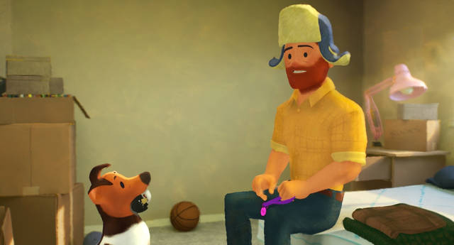 This image released by Pixar Animation Studios shows a scene from the animated short film 'Out,' featuring a gay protagonist, the first in Pixar's 25-year history. Pixar Animation Studios via AP
