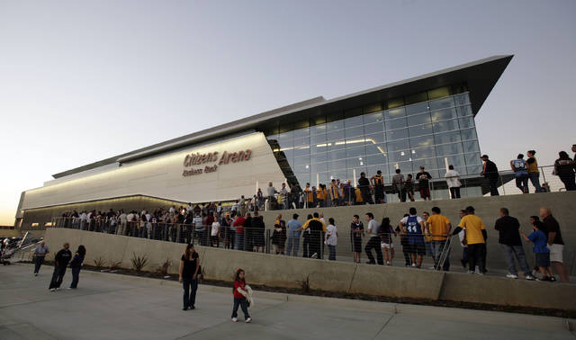 <p>In this Oct. 24, 2008, file photo, fans line up for the grand opening of the Citizens Business Bank Arena before the Los Angeles Lakers play the Oklahoma City Thunder in an NBA preseason basketball game in Ontario, Calif.</p> <p>AP photod</p>