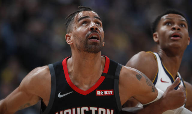 In a Sunday, Jan. 26, 2020 file photo, Houston Rockets forward Thabo Sefolosha (18), left, and Denver Nuggets guard PJ Dozier (35) in the second half of an NBA basketball game, in Denver. Time has not healed all wounds for Sefolosha, the NBA veteran who says he was attacked by a group of New York Police Department officers in April 2015 while they were arresting him outside a nightclub in the city's Chelsea neighborhood. AP photo
