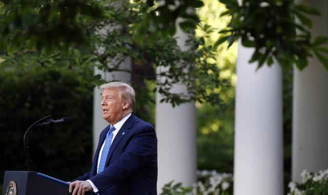 President Donald Trump speaks in the Rose Garden of the White House on Monday in Washington. Patrick Semansky | AP photo