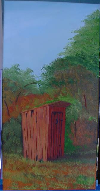 <p>Artist Frank Kluk of Wilkes-Barre Township admits he has a quirky sense of humor, which might be why he decided to paint an outhouse. He completed the painting in March, just as the coronavirus restrictions were being put in place.</p> <p>Submitted photo</p>
