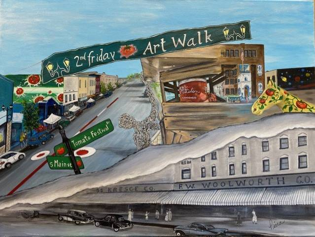 <p>Old-time downton Pittston evolves into present-day downtown Pittston in 'Pittston Rises,' painted by artist Piera Santi-Marotto, who lives in Pittston Township.</p> <p>Submitted photo</p>