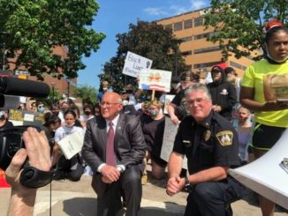 WB's mayor, police chief take a knee at peaceful protest