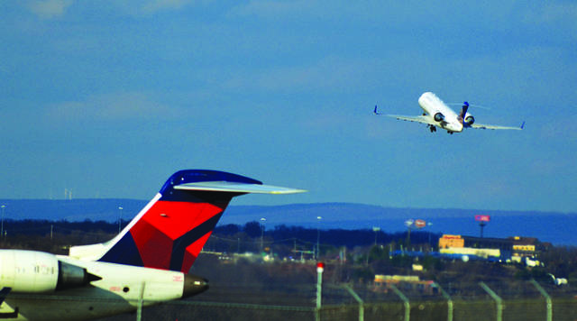 Airliners are seen at the Wilkes-Barre Scranton Airport last year. Times Leader file photo