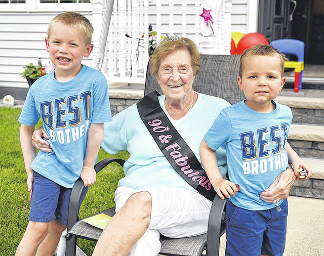 <p>Joan Pribula, of West Pittston, sits next to her great grandsons, R.J. Bartoli, left, and Joey Bartoli, in celebration of her 90th birthday.</p> <p>Tony Callaio   For Sunday Dispatch</p>