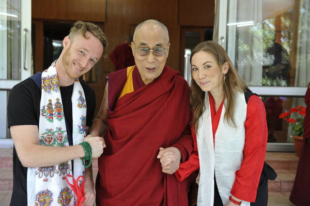 <p>This image released by the Office of His Holiness the Dalai Lama shows the Dalai Lama, center, with Abe Kunin, left, and Junelle Kunin. The Tibetan spiritual leader will release his first album, 'Inner World' featuring teachings and mantras set to music. The album will be released on July 6.</p> <p>AP photo</p>