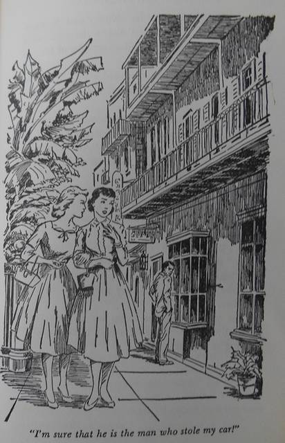 <p>Nancy is typically alert for any suspicious activities or characters, even when she's simply strolling down a street with a friend, as in this illustration from 'The Haunted Showboat.'</p>