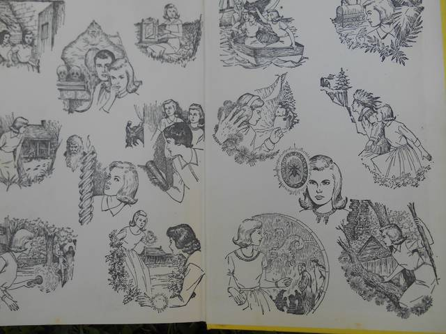 <p>The yellow-spined Nancy Drew books that sold for $1.50 at the old Fowler, Dick and Walker, The Boston Store, in downtown Wilkes-Barre during the early 1970s, treated readers to this collage of sketches inside the covers.</p> <p>Mary Therese Biebel | Times Leader</p>