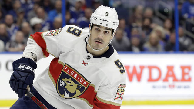 Florida Panthers center Brian Boyle during the second period of an NHL hockey game against the Tampa Bay Lightning in Tampa, Fla. The predominantly white sport of hockey has a checkered history of racism and a culture of not standing out from the team or speaking out. The death of George Floyd in Minnesota has shattered that silence. AP photo
