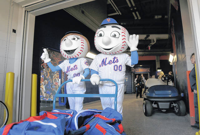 <p>New York Mets mascots Mrs and Mr. Met pose for pictures with the team's equipment before it was sent to spring training, at Citi Field in New York earlier this year.</p> <p>AP photo</p>