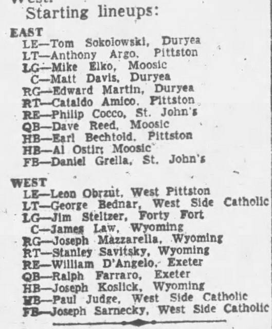 <p>The starting lineups for the Pittston Elks East-West Mid-Valley All-Star High School Football Game which was played in 1960.</p> <p>Times Leader file photo</p>
