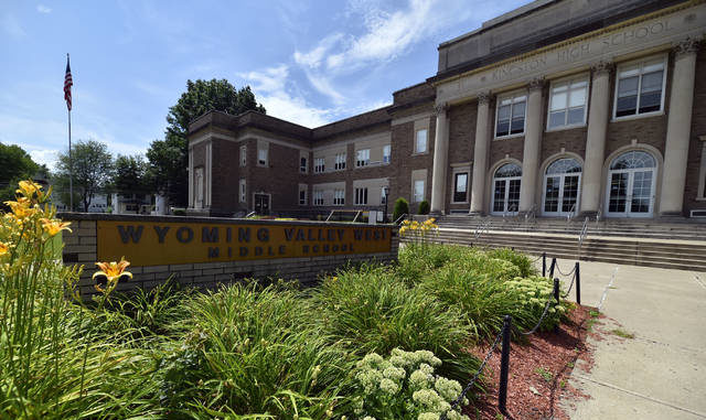 The Wyoming Valley West Middle School is seen on Chester Street in Kingston in this file photo. In a video message posted on the district website, Wyoming Valley West Superintendent David Tosh announced three options for the reopening of school Sept. 8, depending on the status of the COVID-19 pandemic in the county. Times Leader file photo