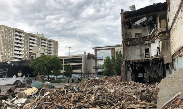 Demolition is seen underway at the rear of the Frank Clark jeweler building on South Main Street in downtown Wilkes-Barre last month. Times Leader file photo