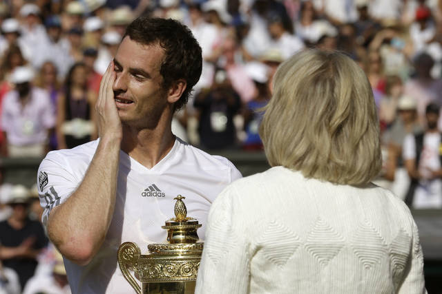 <p>In this July 7, 2013, file photo, Andy Murray of Britain, left, reacts as he addresses spectators after he defeated Novak Djokovic of Serbia during the men's singles final match at the All England Lawn Tennis Championships in Wimbledon, London.</p> <p>AP photo</p>