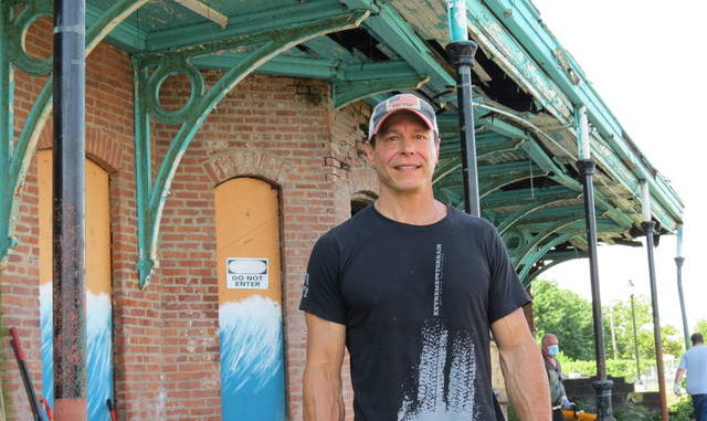 Developer George Albert stands outside the former Central Railroad of New Jersey train station in Wilkes-Barre on Saturday morning as a community cleanup of the 1869 structure was getting underway. 'We're poised to start renovating this building before the end of August,' Albert said.
