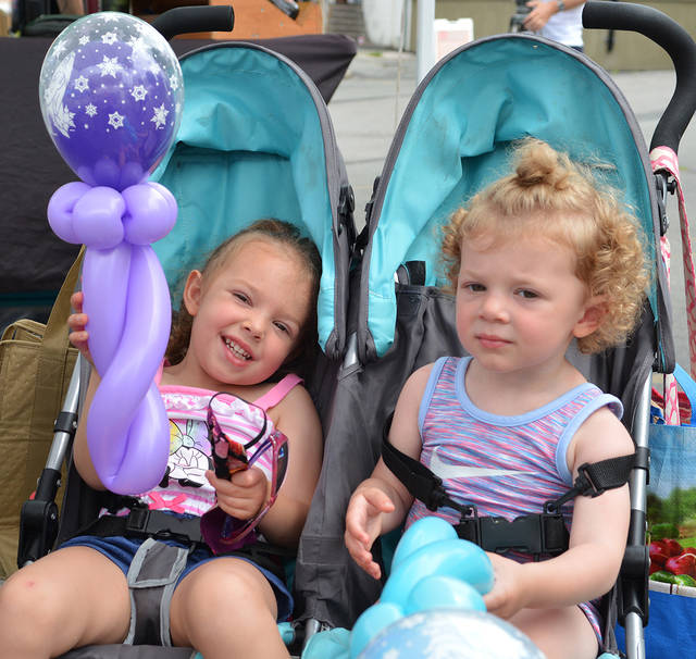 <p>The Norris sisters — Olivia, 3, on the right, and Sophia, 2 — display their balloon figures while their mother, Nicole, took her daughters to visit the Farmers Market.</p> <p>Tony Callaio | For Sunday Dispatch</p>