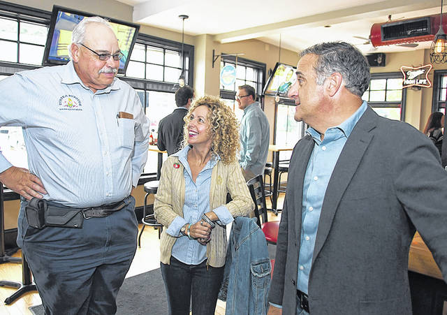 <p>Duryea Borough Mayor Keith Moss, left, Joleen Lazecki, Pittston Tomato Festival committee, and Mayor Michael Lombardo of the City of Pittston, were on hand for the combined Greater Pittston Person of the Year Award and the Best of Greater Pittston Awards in 2018 at The Red Mill, Pittston.</p>                                  <p>Tony Callaio | File photo</p>