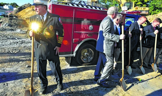 Hanover Township Fire Chief Joe Temarantz, left, is seen in a file photo. Times Leader file photo