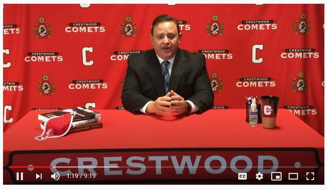 A screen shot shows Crestwood School District Superintendent Robert Mehalick outlining school re-opening plans in a video posed on the district's Facebook page.