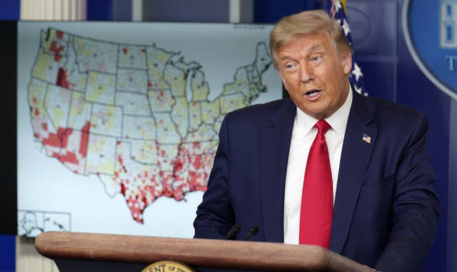 President Donald Trump speaks during a news conference at the White House on Thursday. Evan Vucci | AP photo
