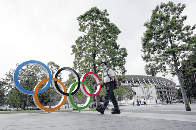<p>A man wearing a mask against the spread of the new coronavirus walks at the Olympic rings in front of the New National Stadium in Tokyo. The postponed Tokyo Olympics have again reached the one-year-to-go mark. But the celebration is small this time with more questions than answers about how the Olympics can happen in the middle of a pandemic.</p> <p>AP photo</p>