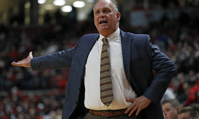 In this Dec. 16, 2019, file photo, Southern Mississippi coach Jay Ladner argues a call with the referee during the first half of an NCAA college basketball game against Texas Tech in Lubbock, Texas. While the major sports are finding ways to return to competition, college basketball is in a holding pattern, much like college football. College basketball coaches do have an advantage over the football coaches while in limbo. Since their season starts later, they get a chance to see how things play out, both in professional sports and in college football. AP photo