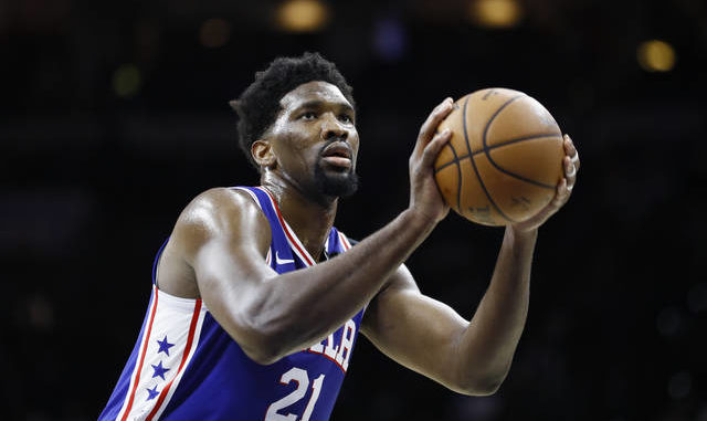 In this March 11, 2020 file photo, Philadelphia 76ers' Joel Embiid plays during an NBA basketball game against the Detroit Pistons in Philadelphia. AP photo