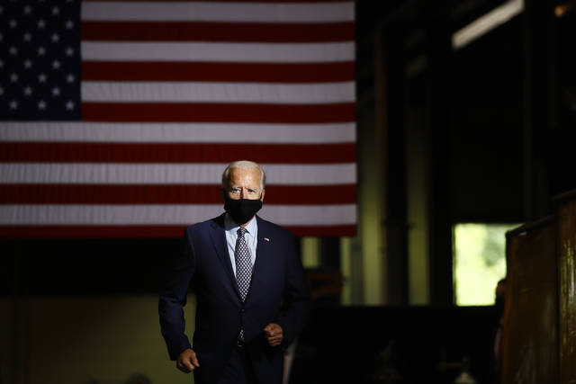<p>In this July 9 photo Democratic presidential candidate former Vice President Joe Biden arrives to speak at McGregor Industries in Dunmore.</p> <p>AP file photo</p>