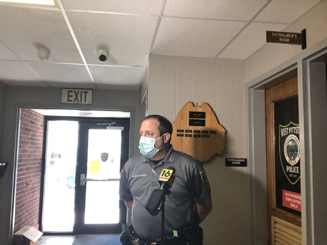 <p>West Pittston Chief of Police Michael Turner answers questions on Monday following Monday's identity theft arraignment.</p> <p>Kevin Carroll | Times Leader</p>