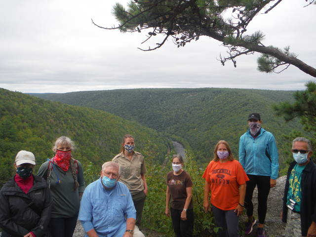 Hikers follow Game Land trail to scenic overlook