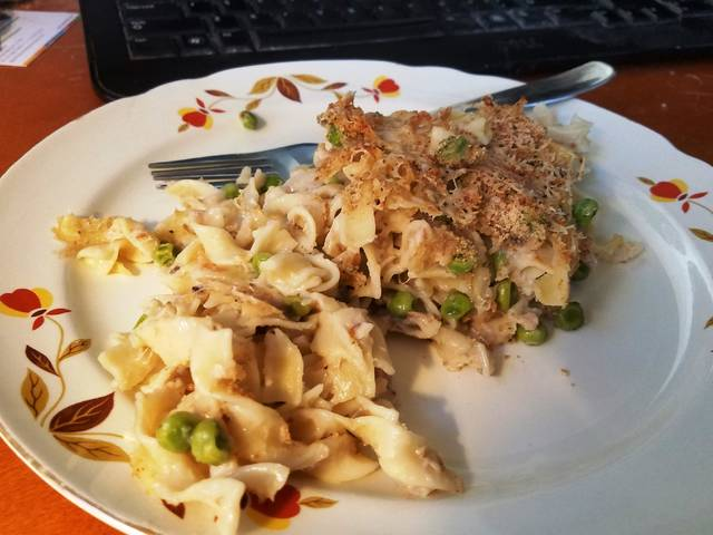 The plated tuna noodle casserole, and yes, that's my computer keyboard in the background. I pulled it out of the oven while waiting for a virtual school board meeting to start, so I ate it at my home desk.                                  Mark Guydish | Times Leader