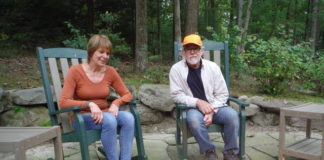 Roseann and Rick Nardone relax near the fire pit Rick installed to add 'the flames and the warmth without the smoke' to their Slocum Township garden.                                  Mary Therese Biebel | Times Leader